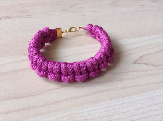 Cotton cord bracelet. knot bracelet. purple bracelet by Kreseme
