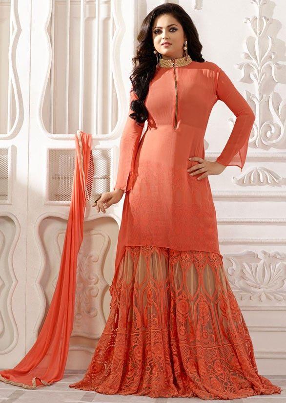 Drashti Dhami Salmon Orange Palazzo Suit