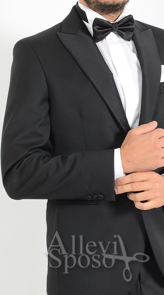 ABITO SPOSO UOMO PETTO IN RASO CERIMONIA SMOKING, ABITO SPOSO CERIMONIA BLACK TIE DISPONIBILE PRESSO GENTE E MODA TEL: 0363 914084