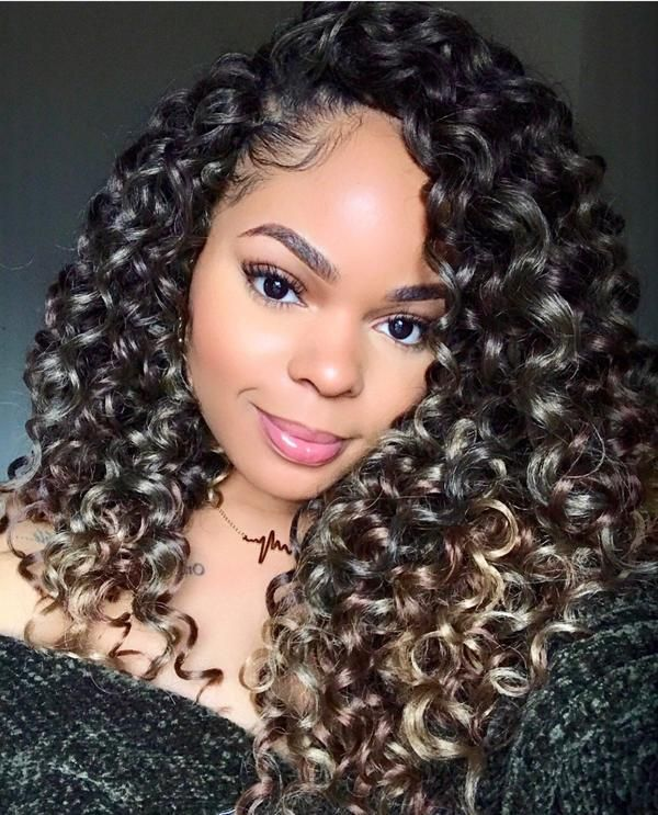 Afri Naptural Caribbean Pre Stretched Water Fall 18 Curly Crochet Hair Styles Hair Styles Crochet Braids Hairstyles