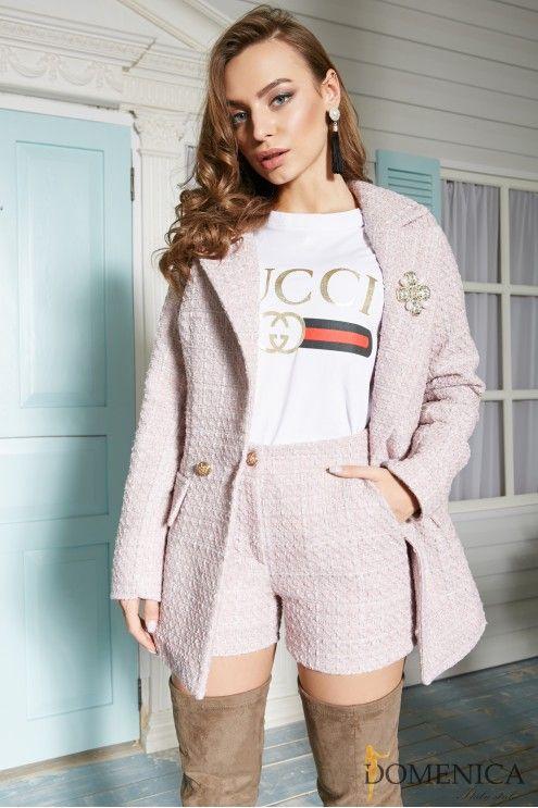 356452cd7cb Стильный твидовый костюм с шортами  купить оптом в Украине