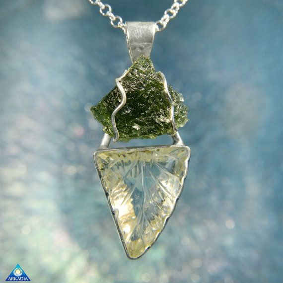 Carved Clear Quartz Crystal & Raw Moldavite by ArkadianCollection