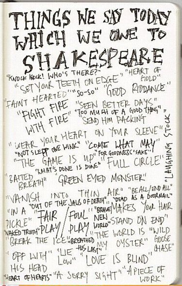 Words and phrases given to us by Shakespeare