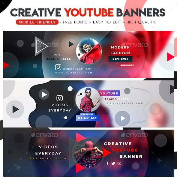 Creative Multipurpose Youtube Banners S Izobrazheniyami Dizajn