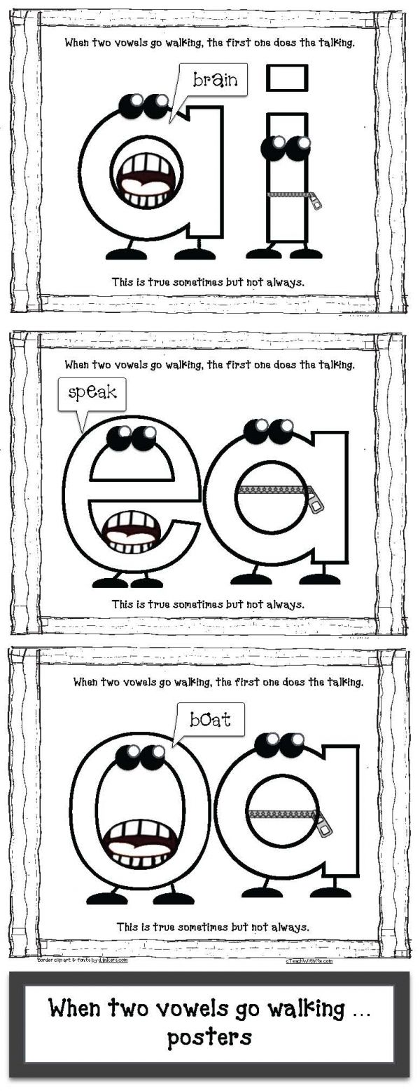 "Vowel activities: FREE ""When Two Vowels Go Walking"" anchor-chart posters."