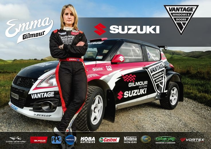 Emma Gilmour reveals new look Vantage Windows & Doors Suzuki Swift Maxi rally car for 2016. Photo: Trev Hill