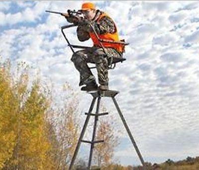 12' Tree Stand Hunting Camo Tripod Bow Rifle Blind Seat Shoot N Rail Deer Turkey