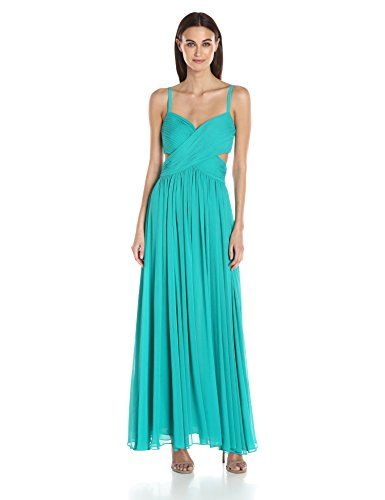 laundry BY SHELLI SEGAL Women's Criss Cross Pleated Gown, Tropical Green, 2