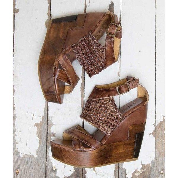 Bed Stu Petra Sandal - Brown US 10 ($165) ❤ liked on Polyvore featuring shoes, sandals, brown, brown shoes, brown leather sandals, brown leather shoes, platform shoes and platform wedge sandals
