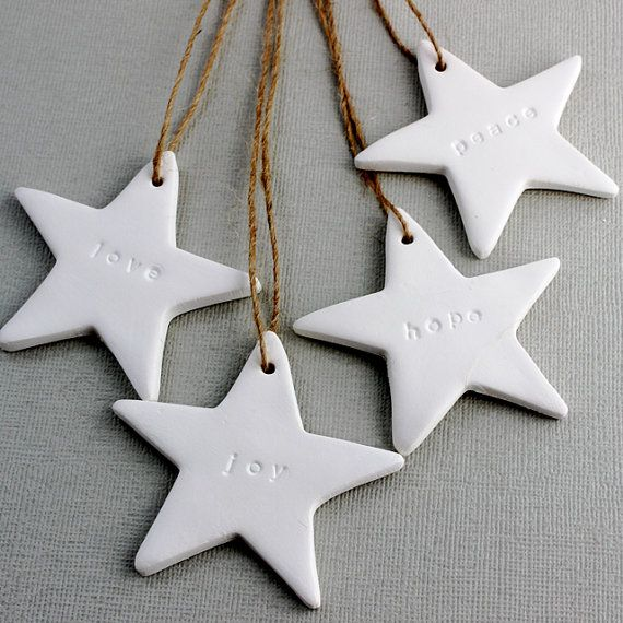 Love, Joy, Hope, Peace Embossed Christmas Stars - Set of 4 - White Clay Gift Tags, Ornaments, Decorations, Wishes