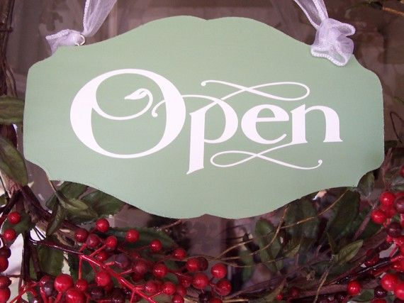 Let your customers know when you are open for business with this wonderful custom decorative shaped wood sign. The curves and scrolls of the wood