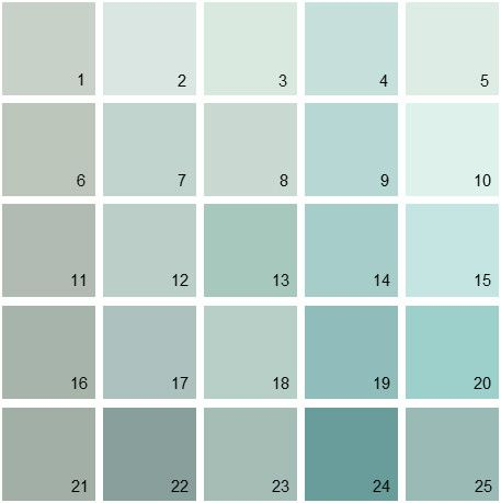 Benjamin Moore Blue House Paint Colors - Palette 01  4. Iced Green 673 5. Come Sail Away 846  7. Annapolis Green 687  9. Spring Sky 67  12. Seacliff Heights 688 13. Antique Glass CSP-695	14. Thunderbird 675 15. Arctic Blue 2050-60 16. Raindance 1572 17. Wedgewood Gray HC-146 18. Heavenly Blue 709 19. Spirit In The Sky 676 20. Waterfall 2050-50 21. Castle Walls 1573 22. Atmospheric AF-500 23. Rhine River 689 24. Azure Water 677 25. Kensington Green 710