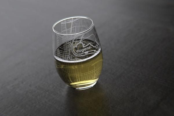 Eugene, OR - University of Oregon - College Town Maps Stemless Wine Glass