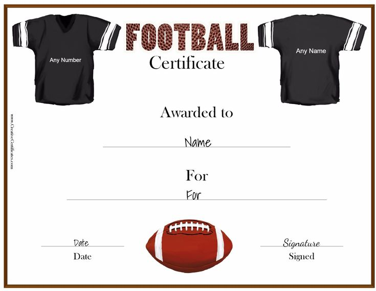A variety of free printable football certificates that can be customized online. Many more free sports awards and award certificates on this site.