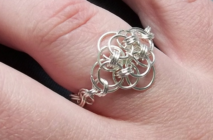 Silver Chainmaille Ring. Custom. Floral Design.. $20.00, via Etsy.