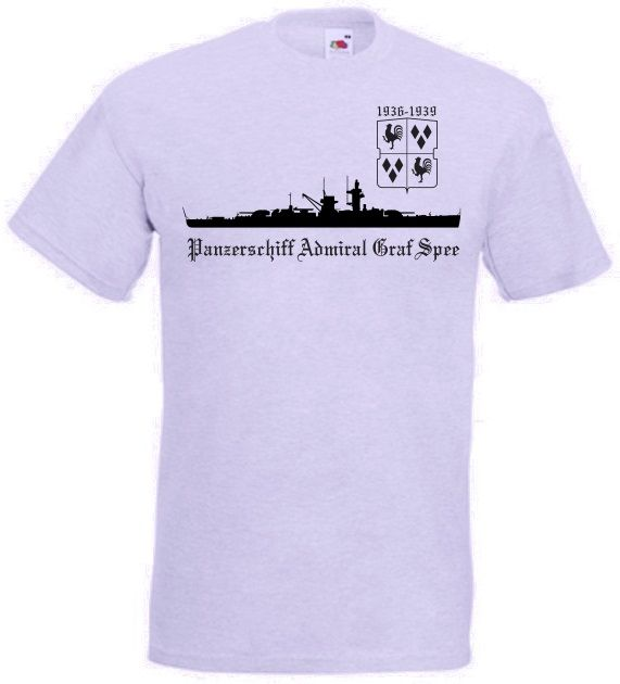 T-Shirt Panzerschiff Admiral Graf Spee in grau. Auf dem T-Shirt ist das berühmte deutsche Kriegsschiff Admiral Graf Spee abgebildet. Der Stapellauf des Schiffes war am 30. Juni 1934 in Wilhelmshaven. Das Panzerschiff wurde am 17. Dezember 1939 von der eigenen Schiffsbesatzung versenkt. Die Besatzung betrug zwischen 951 und 1150 Mann. Die Höchstgeschwindigeit der Graf Spee war 28,5 Knoten, was 53km/h entspricht. / mehr Infos auf: www.Guntia-Militaria-Shop.de