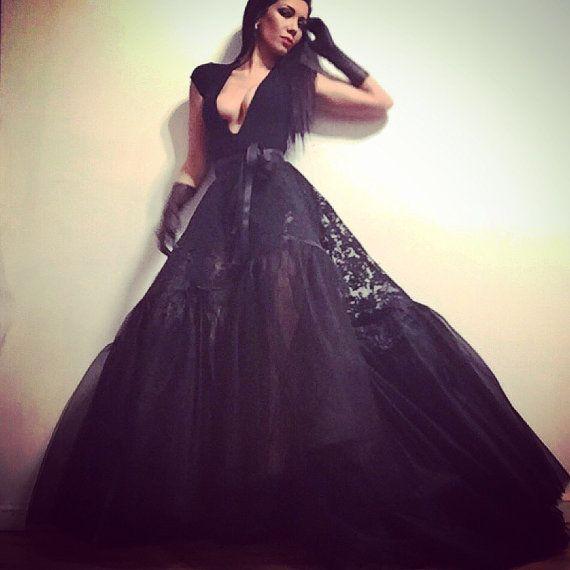 Irina Shabayeva Black lace ball skirt. Comes in by IRINASHABAYEVA