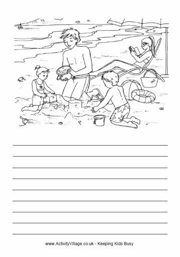 aan het strand, schrijf zelf een verhaaltje. er staan heel veel thema's op deze site