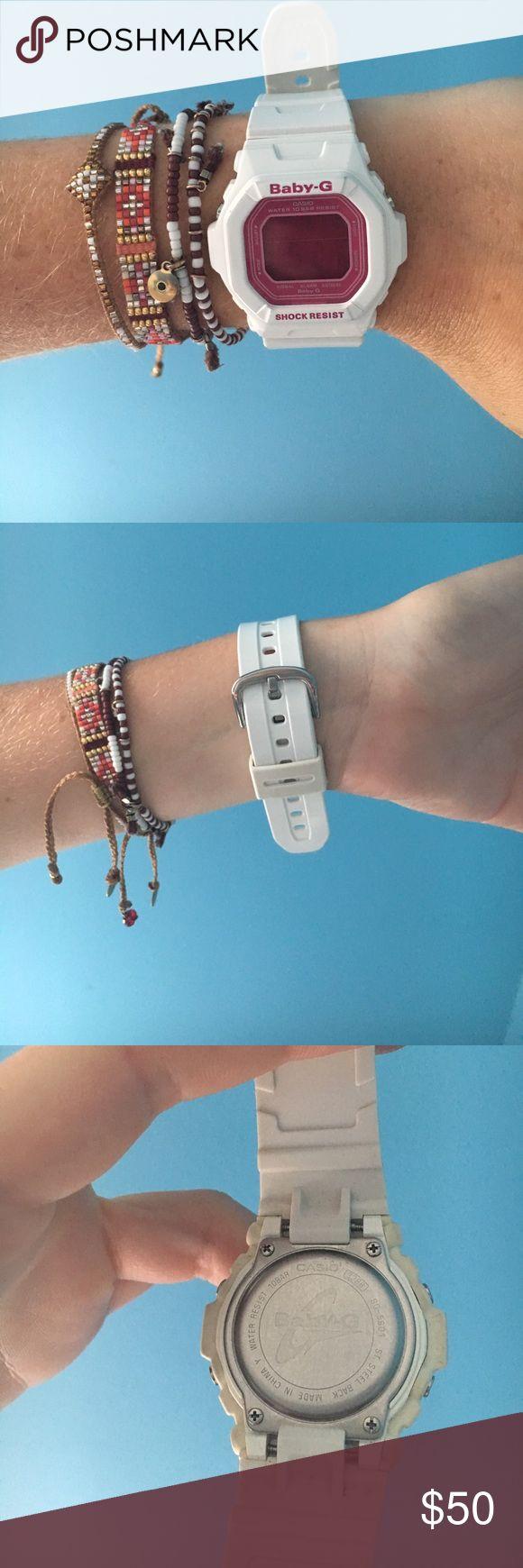 White Baby G Worn twice. Brand new. White and pink Baby G Casio watch g shock Accessories Watches