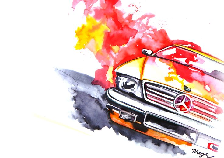 mercedes-benz watercolour sketch