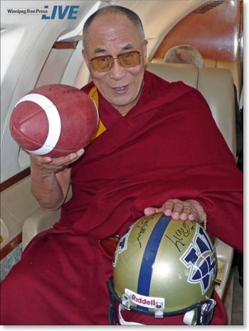 "The Dalai Lama wrote ""Victory to the Blue Bombers"" (of the Canadian Football League) on this helmet."