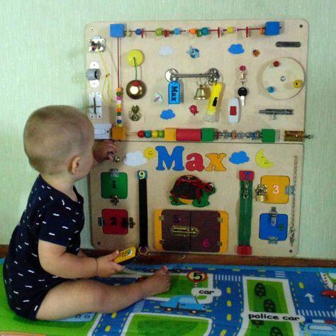 Personalisierte beschäftigt Board, Babygeschenk, Baby-Sensor-Brett, Montessori, Kinder Aktivität Board, Spielzeug für Kleinkind, Spielzeug zu entwickeln