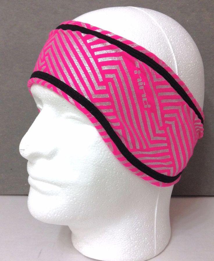 New$25 HIND REFLECTIVE RUNNING HEADBAND / EARWARMER Pink/Silver/Black REVERSIBLE #Hind #Headband