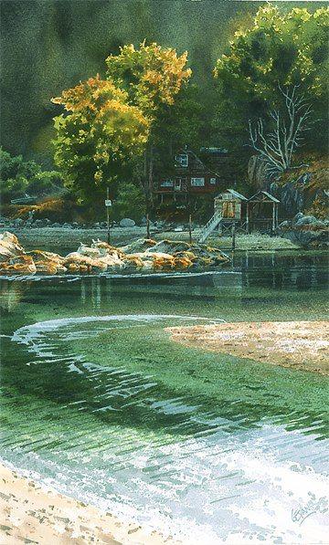 Lagoon at Mansons Landing watercolor by Carol Evans