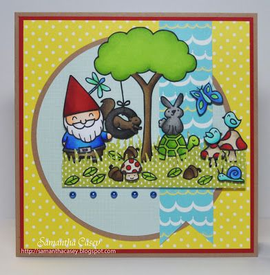 Adorable scene! _ Lawn Fawn - Critters in the 'Burbs, Gnome Sweet Gnome, Year Two, Daphne's Closet 6x6 paper Samantha Casey: Lawnscaping Challenge #61- Sketch Challenge