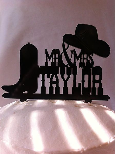 Country Wedding Cake Toppers | Rustic Country & Western Hat And Boot Custom Name Wedding Cake Topper