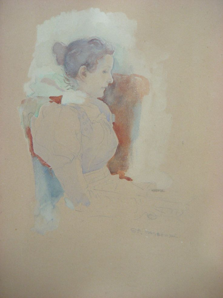 Stanislaw Maslowski (1853-1926), Portrait of Artist's Wife, 1897, water-colour on paper, 25x34 cm.