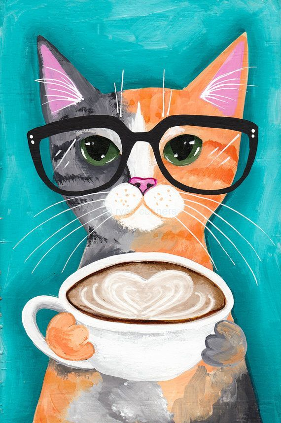 A Latte With Love  Original CAT Folk Art by KilkennycatArt on Etsy BTW, please check out: http://jeremy-aiyadurai.pixels.com/