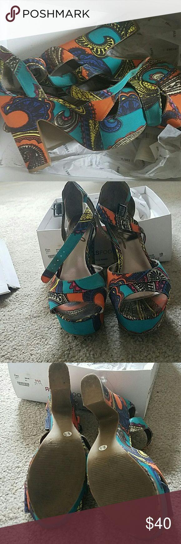 Sandals Multi color high heel sandals by Rebel Shoes Platforms
