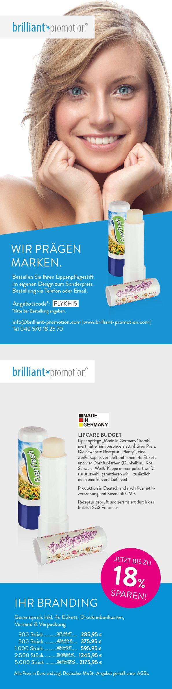 Samtweiche Lippen und obendrein damit werben - das neue Produkt der Woche von #brilliantpromotion zeigt, dass das wunderbar funktioniert. Und sparen geht dank des Rabattcodes auch!