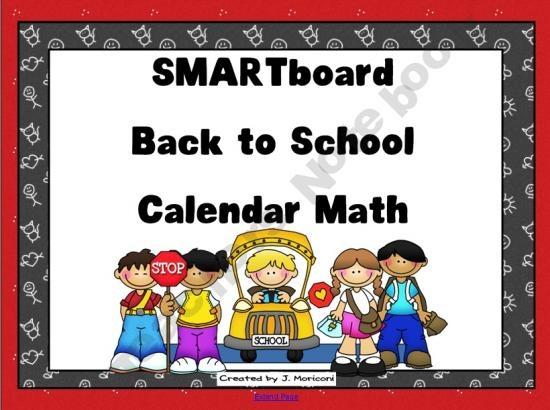 Calendar Math Kindergarten Smartboard : Back to school themed smartboard calendar math prek nd