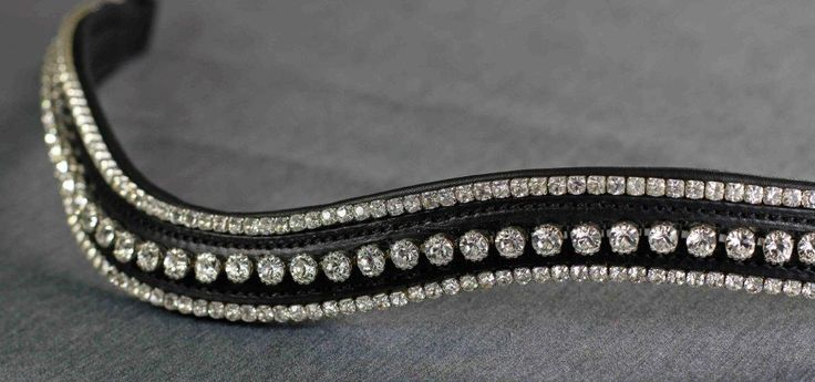 Clear Swarovski Crystal Triple Row Wave Shape English Leather Flexi-Fit Gel Padded Browband - Black - Browbands - Bridle Parts | Flexible Fit Equestrian