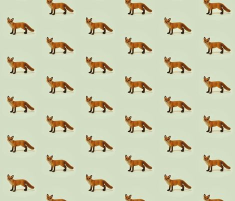 Cheeky Fox on Green fabric by thistleandfox on Spoonflower - custom fabric