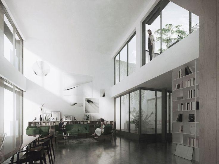 ZŁOTA 3 ROOFTOP EXTENSION, WARSAW   mimal interior design, high ceiling, bookcase, indoor patio