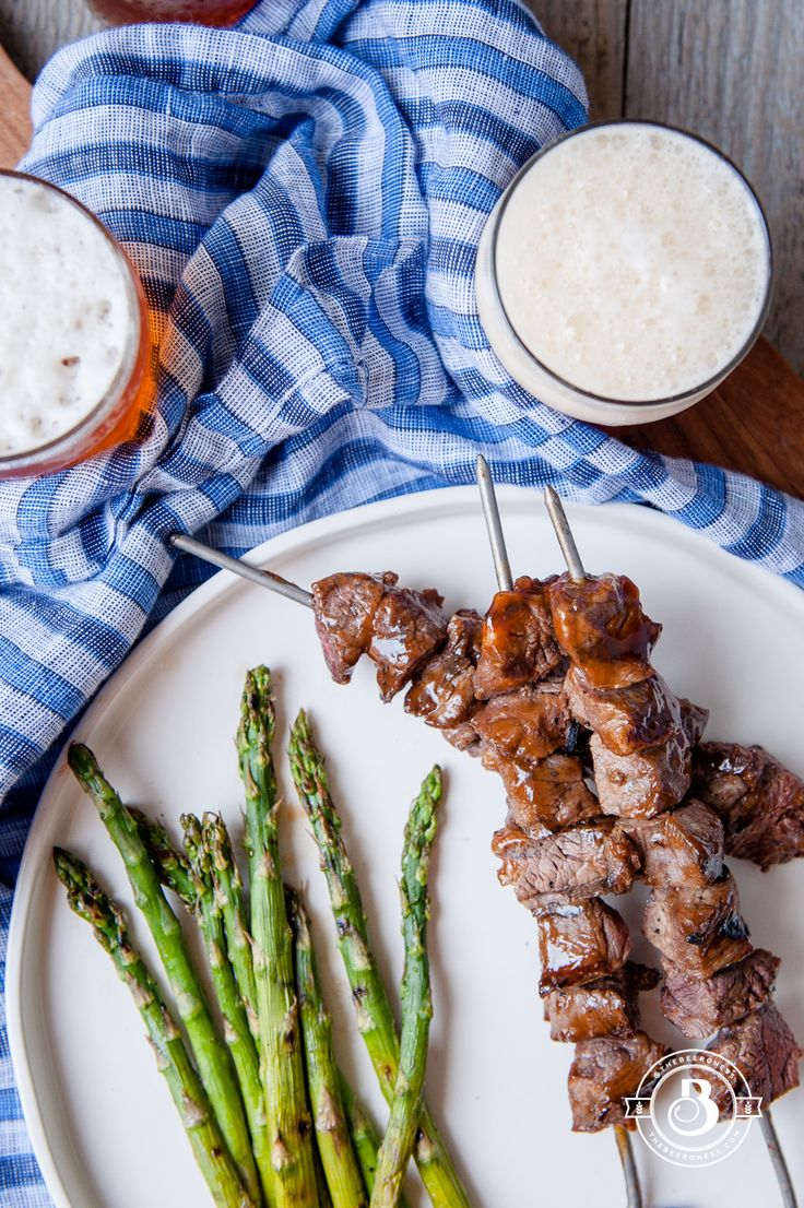 Grilled Beer Brined Filet Tips with Hoisin Glaze. Only 4 ingredients and SO good!