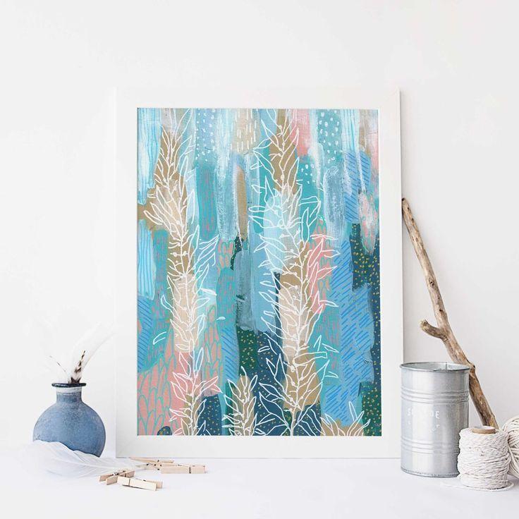 Sea Life Underwater Scene Modern Ocean Painting Wall Art Print Or Canvas Ocean Wall Art Wall Art Prints Coastal Wall Art