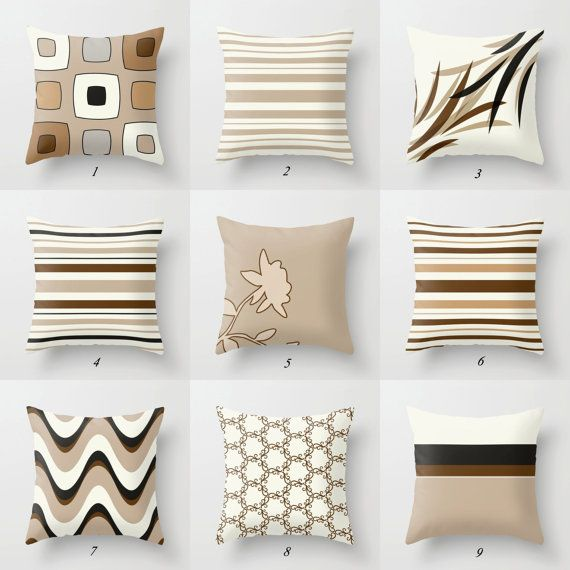 Brown Pillow Covers Tan Pillows Black and by DesignbyJuliaBars