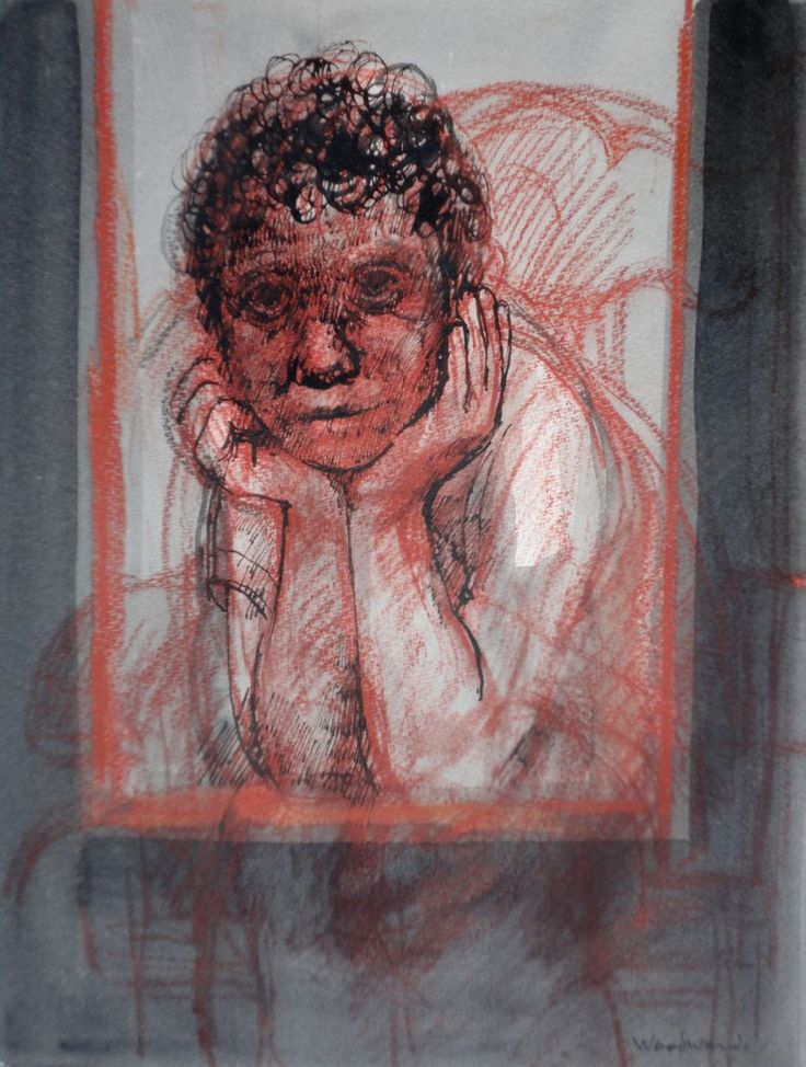Boy at the Window pastel, ink & wash on paper 32 x 24cm, Margaret Woodward, http://www.wagnerartgallery.com.au/artists.php?id=25