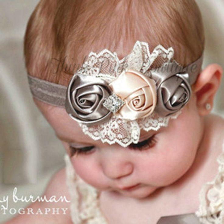 Nuevo caliente de moda elástica diademas Rose flor flor de cristal accesorios del pelo del bebé del bebé niños de pelo bandas 2015(China (Mainland))