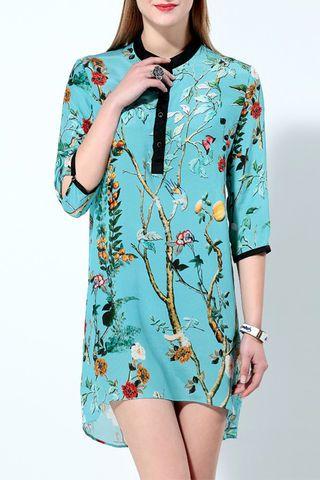 blue 34 sleeves floral shirt silk dress