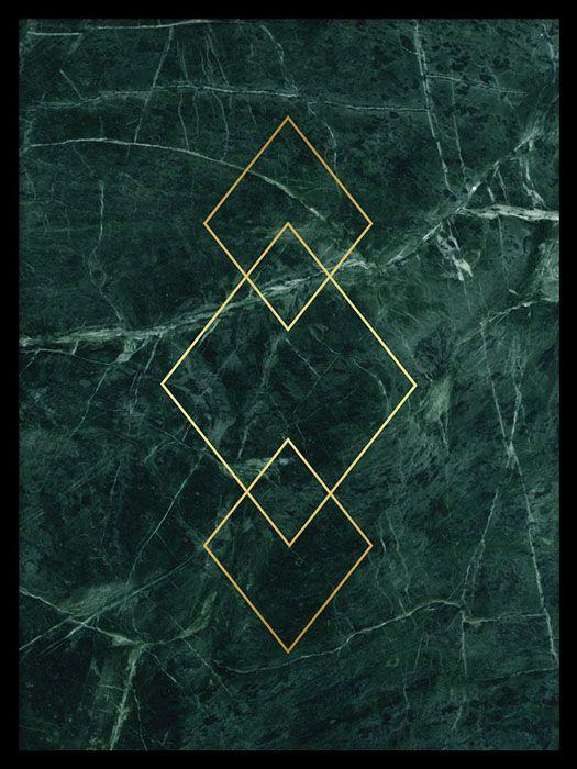 Triangle Gold green marble, poster i gruppen Posters og plakater / Gull og metallic hos Desenio AB (7954)