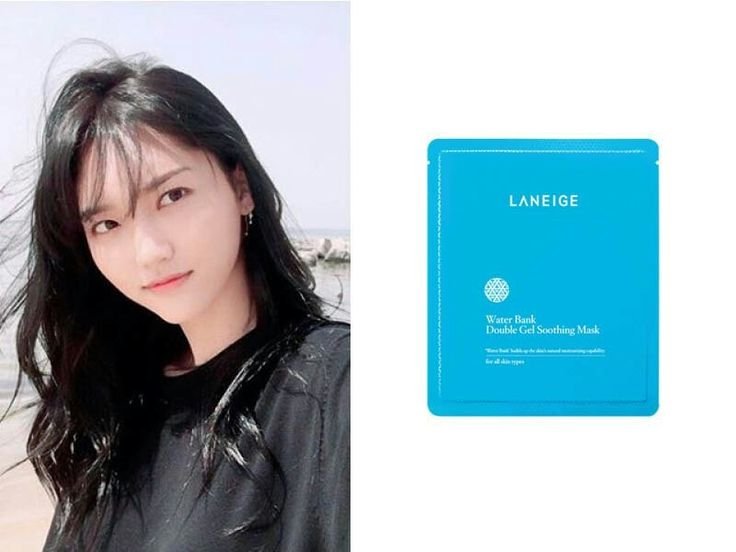 "Chaeyull Jung""The Laneige Water Bank Double Gel Soothing Mask. It reduces redness and the soothing gel lends that moist chok chok quality to your skin to calm your entire complexion."""