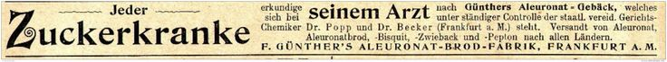 Original-Werbung/ Anzeige 1897 - GÜNTHERS ALEURONAT GEBÄCK / FRANKFURT AM MAIN - ca. 190 x 15 mm