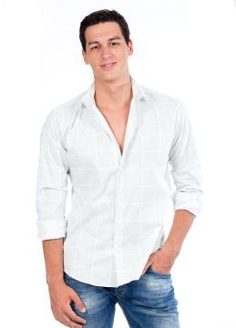 Beyaz Kareli Erkek Gömlek