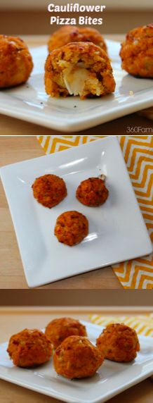 Cauliflower Pizza Bites.  A crunch outer crust made with cauliflower (no bread) filled with a gooey low fat cheese. -360FamilyNutrition