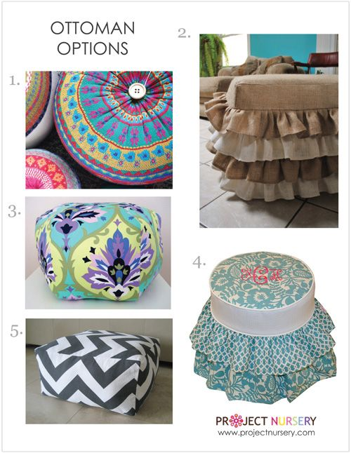 Use a fun ottoman in the nursery to add pattern or texture! #nurserydecor